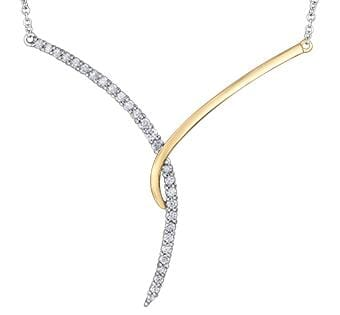 10 Karat White Gold, Yellow Gold Accent Diamond Pendant