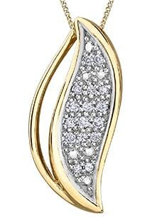 10 Karat Yellow Gold, White Gold Accent Diamond Pendant