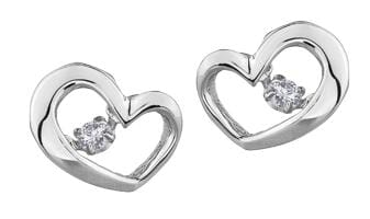 10 Karat White Gold Diamond Stud Earring