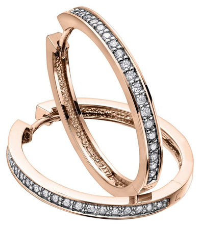 10 Karat Rose Gold Diamond Huggie Earring