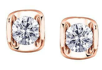 14 Karat Rose Gold Canadian Diamond Stud Earring