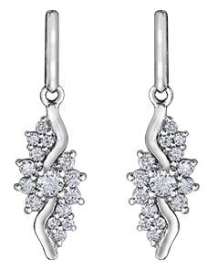 10 Karat White Gold Diamond Drop Earrings