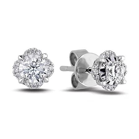 10 Karat White Gold Canadian Diamond Stud Earrings