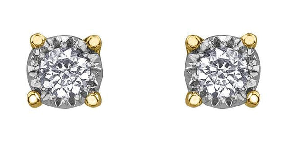 10 Karat Yellow Gold, White Gold Accent Diamond Stud Earrings