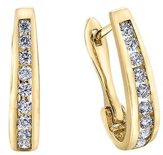 10 Karat Yellow Gold Diamond Hoops with Lever Backs