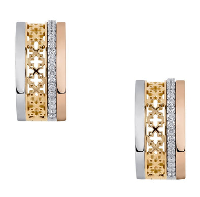 18 Karat Tri-Gold Diamond Hoop Earrings