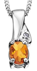 10 Karat White Gold Citrine, Diamond Pendant