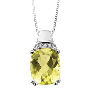 10 Karat White Gold Lemon Quartz, Diamond Pendant