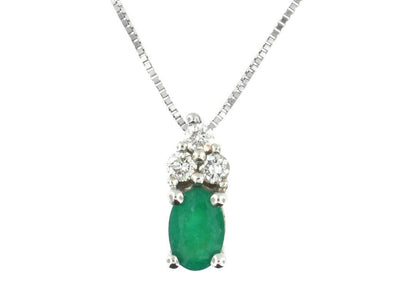 10 Karat White Gold Emerald, Diamond Pendant