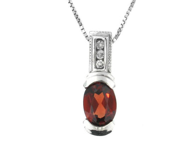10 Karat White Gold Garnet, Diamond Pendant