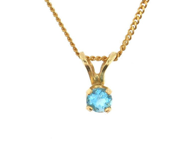 10 Karat Yellow Gold Blue Topaz Pendant