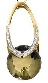 10 Karat Yellow Gold Green Quartz, Diamond Pendant