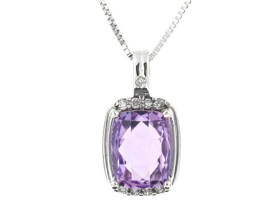 10 Karat White Gold Amethyst, Diamond Pendant