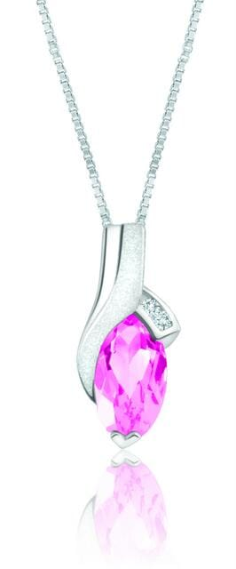 10 Karat White Gold Pink Topaz, Diamond Pendant