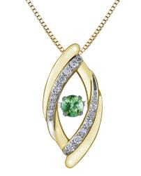 10 Karat Yellow Gold, White Gold Accent Emerald, Diamond PULSE Pendant