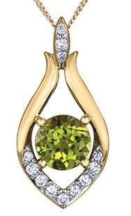 10 Karat Yellow Gold Peridot, Diamond Pendant