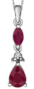 10 Karat White Gold Ruby, Diamond Pendant