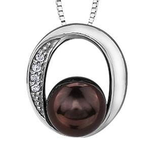 10 Karat White Gold Black Cultured Pearl, Diamond Pendant