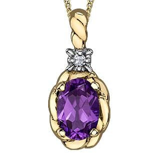 10 Karat Yellow Gold Amethyst, Diamond Pendant