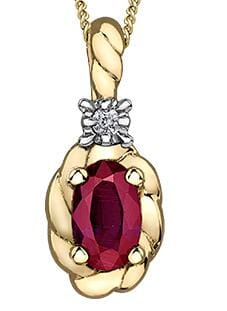 10 Karat Yellow Gold Ruby, Diamond Pendant
