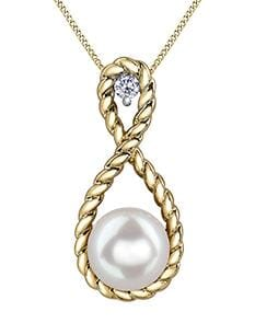 10 Karat Yellow Gold Pearl, Diamond Pendant