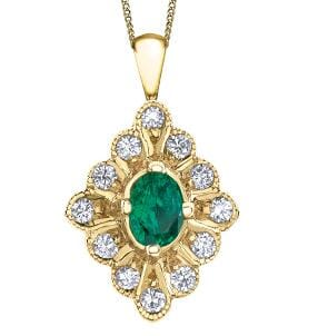 10 Karat Yellow Gold Emerald Pendant