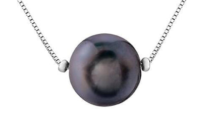 10 Karat White Gold Black Cultured Pearl Pendant