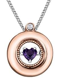 10 Karat Rose Gold, White Gold Accent Amethyst, Diamond PULSE Pendant