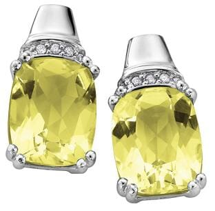 10 Karat White Gold Lemon Quartz, Diamond Stud Earring