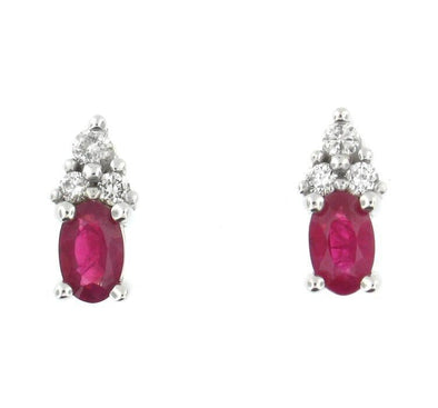 10 Karat White Gold Ruby, Diamond Stud Earring