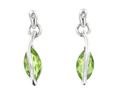 10 Karat White Gold Peridot, Diamond Stud Earring