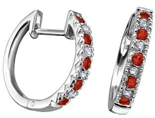 10 Karat White Gold Ruby, Diamond Hoop Earring
