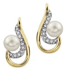 10 Karat Yellow Gold, White Gold Accent Pearl, Diamond Stud Earring