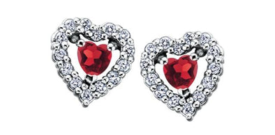 10 Karat White Gold Garnet, Diamond Stud Earring