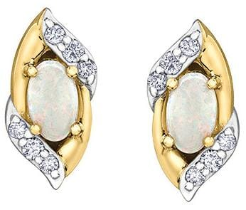 10 Karat Yellow Gold, White Gold Accent Opal Stud Earring