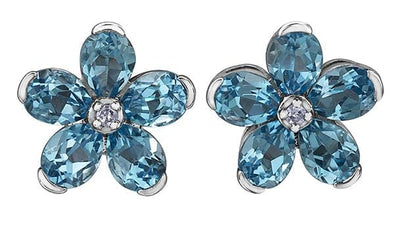 10 Karat White Gold Blue Topaz Stud Earring