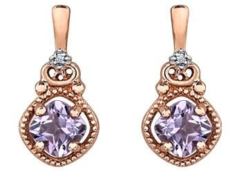 10 Karat Rose Gold Pink Amethyst, Diamond Stud Earring