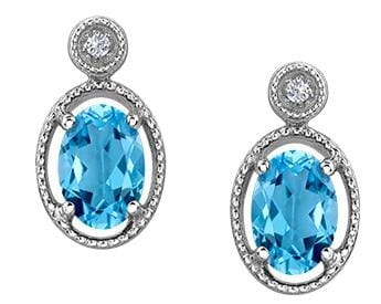 10 Karat White Gold Blue Topaz, Diamond Drop Earring