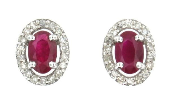 10 Karat White Gold Ruby & Diamond Earrings