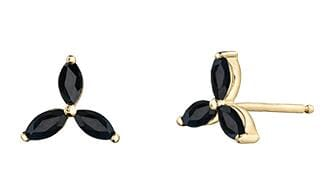 10 Karat Yellow Gold Black Sapphire Stud Earrings