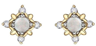 10 Karat Yellow Gold, White Gold Accent Opal, Diamond Stud Earrings