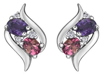 10 Karat White Gold Amethyst, Pink Tourmaline, Diamond Stud Earrings