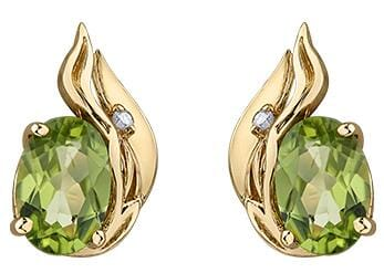 10 Karat Yellow Gold Peridot, Diamond Stud Earrings
