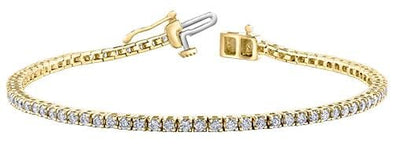 10 Karat Yellow Gold Diamond Tennis Bracelet