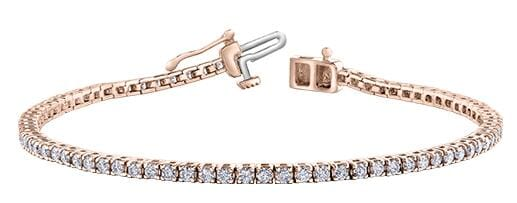 10 Karat Rose Gold Diamond Tennis Bracelet