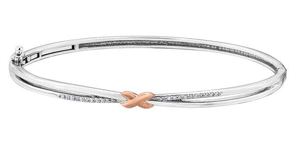 10 Karat White Gold, Rose Gold Accent Bangle Bracelet