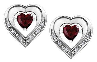 Sterling Silver Created Ruby, Diamond Stud Earrings