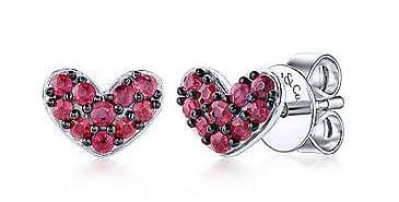 Sterling Silver Ruby Heart Stud Earrings
