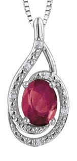 Sterling Silver Ruby, Diamond Pendant