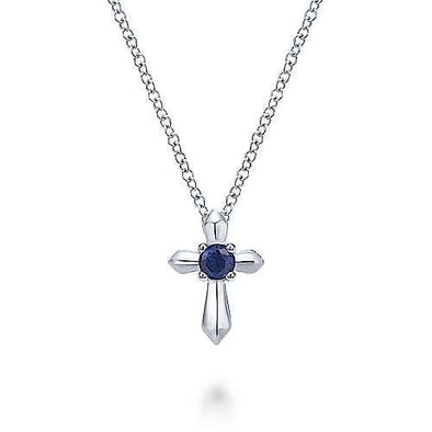 Sterling Silver Blue Sapphire Cross Pendant Cross